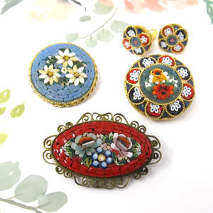 Italian Micromosaic Pins Brooches Earrings Lot